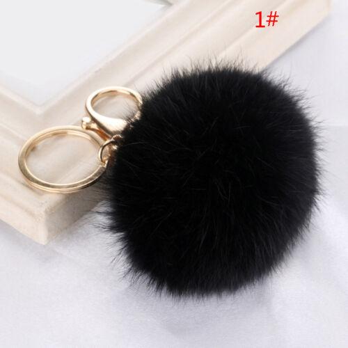 Cute Tasche Schlüssel Anhänger Kaninchen Pelz Fell Bommel Schlüsselketten-PAL