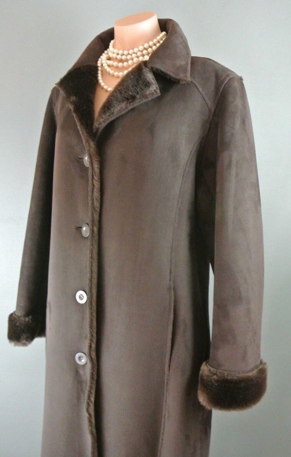 Faux Fur & Suede LONG BROWN Winter Dress Coat L FUDA VEGAN Winter Coat1007
