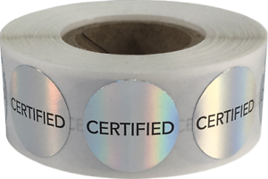 Certified Labels Holographic Silver 3//4 Inch Circle 500 Adhesive Stickers