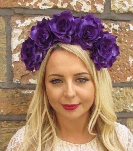 Large Purple Rose Sugar Skull Flower Headband Halloween Frida Khalo Big 3685