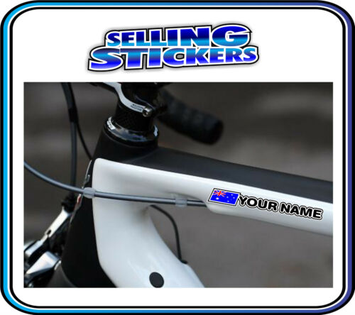 CUSTOM NAME STICKER WITH FLAG SET ROAD CYCLING BIKE BMX MOUNTAIN AVANTI GIANT S1