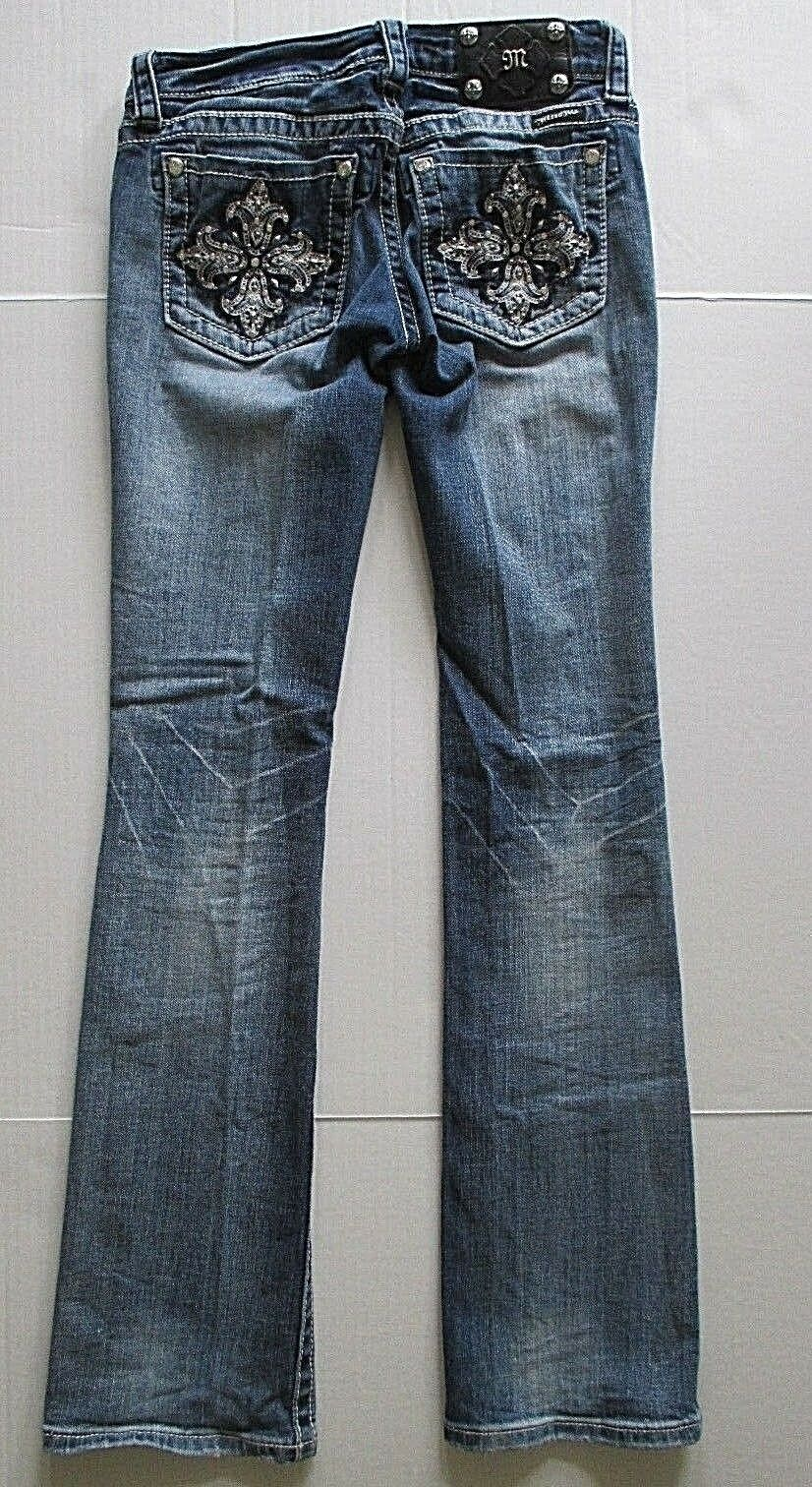 Miss Me Faded Bootcut Jeans Size 26 Waist x 34 Long Ripped Distressed Bling Boot