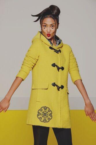 jaune Bnwt laine Desigual et alpaga Taille mélange jaune coat Explosion 12 X Duffle en wXqavXO