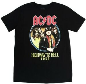 ACDC-Men-039-s-Highway-To-Hell-Black-Short-Sleeve-Classic-Rock-Band-T-Shirt