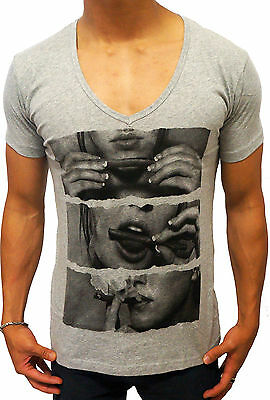 NEW MENS GREY DEEP V NECK T SHIRT DRUGS JOINT FASHION CASUAL SLIM FIT DESIGNER