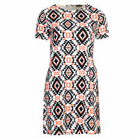 Womens Cap Sleeve Tribal Aztec Print Zipped Crepe Shift Tunic Short Party Dress