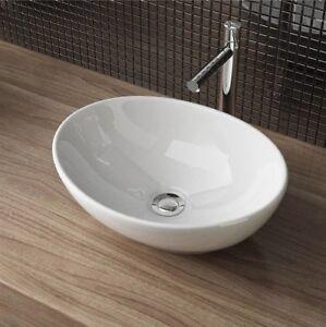 Avila Lavabo Vasque En Ceramique Blanche Vasque A Poser Ovale Haute