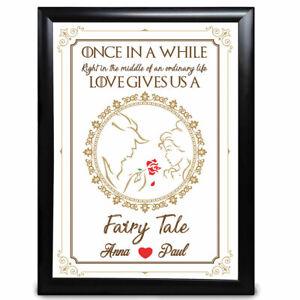 Beauty /& the Beast Personalised Anniversary Gift Wedding Fairytale Disney Print