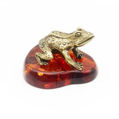 Toad Baltic Amber # 28 Bronze Brass Figurine Statuette Russian Frog