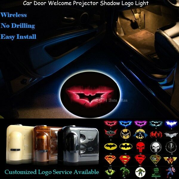 2x 3D Red Batman Logo Wireless Car Door Laser Projector Puddle Shadow LED Lights