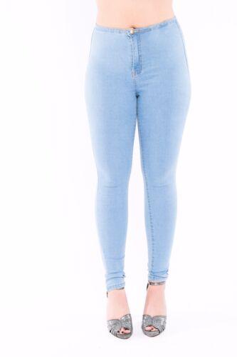 Reino Unido Mujer señoras de la alta cintura Flaca Jeans Stretch Denim JEGGING PANTALONES TALLA 6-14