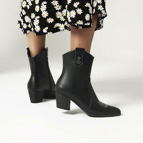 Details about  /Women Ladies 44//48 Chelsea Pointy Toe Chunky Low Heel Ankle Boots Winter Warm L