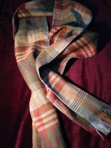 Mulberry Bufanda Antigua Tartan lana Rojo Gris Azul Oro tejido pesado largo de gran tamaño