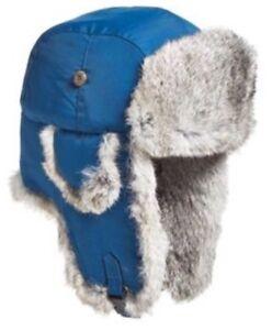 8b1998368cc08 Woolrich Faux Fur Aviator Trapper Hat Blue 100% Nylon Medium 56-57cm ...