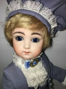 """Blue Eyes Delightful Colors And Exquisite Workmanship All Bisque Famous For Selected Materials Novel Designs Beautiful French 10"""" Jumeau Long Face Repro By Bev Brown"""