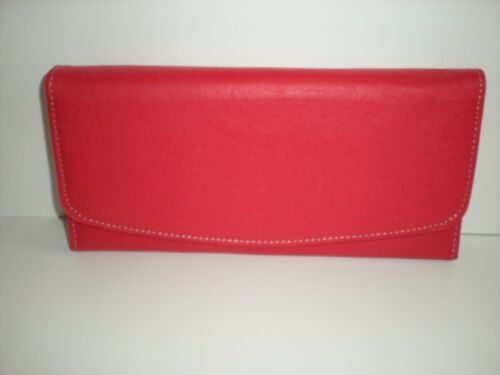 DELUXE LEATHER FRONT PRESS-STUD FASTENING CLUTCH TYPE PURSE WITH REAR ZIP 50054