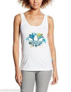 Top-canotta-T-shit-Fitness-Palestra-Yoga-Donn-Adidas-Floral-1-trefoil-Bianco-44