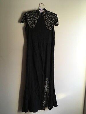 Abbigliamento Vintage, X3 Nero Gli Articoli, Con Perline Crepe/seta, Rari Autentici, Vittoriano?- Bello E Affascinante