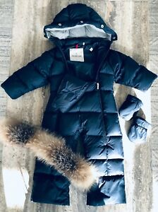 0a73989996ff BABY BOY 9 12 MONTHS MONCLER NAVY SNOWSUIT ORIG   775.00