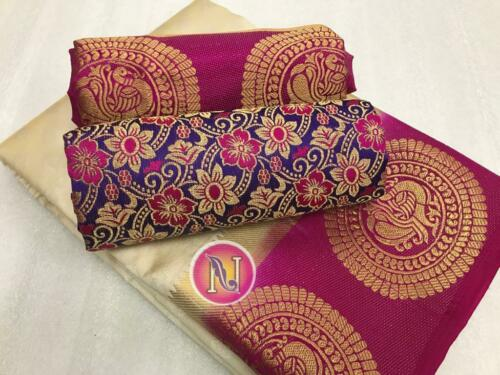 Designer Sari Tussar Silk Party Wear Bollywood Ethnic Kanjivaram Saree Blouse RF