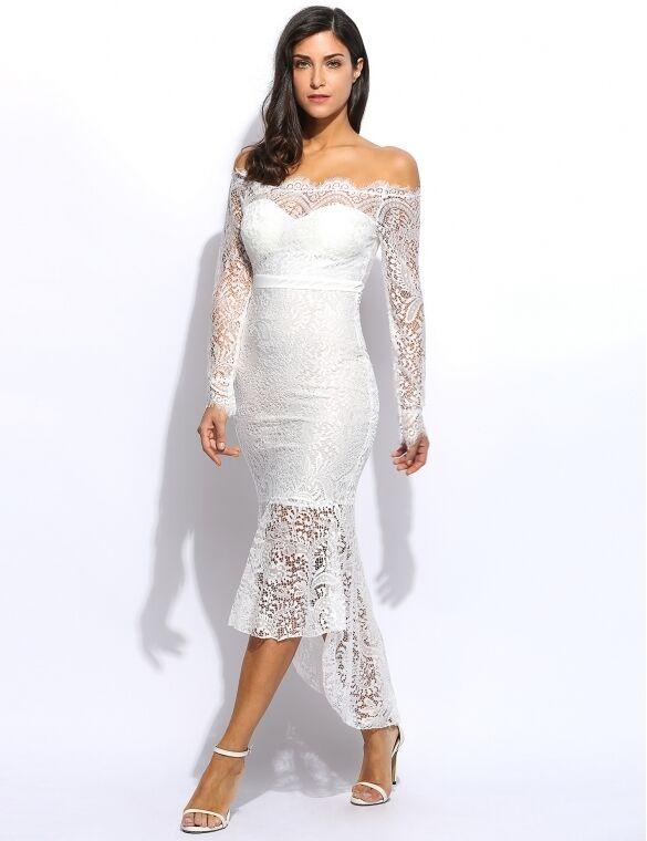 Kleid etuikleid frau spitze weiß élégant mode hülle klassisch 3303