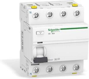 Schneider A9Z21440 Disjoncteur différentiel iID, 4P, 40A, 30mA Type A, Blanc