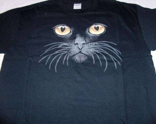 """Cat Face Short Sleeve Tee Shirt Black Yellow Eyes""    Gildan"