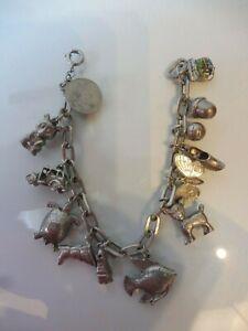 Schones-altes-Armband-Silber-Bettelarmband-mit-13-schonen-Anhanger-Charms
