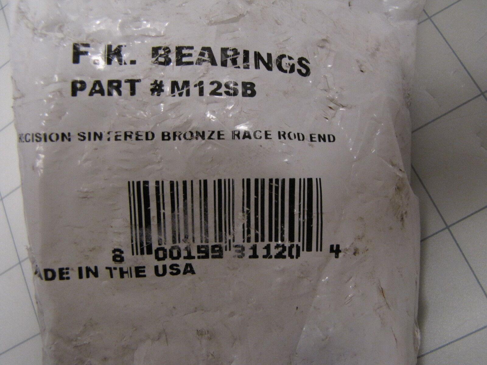 "1 FK BEARING M12SB 3//4/"" x 3//4/"" Precision Sintered Bronze Race Rod End 3 Piece"