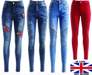 Pantalon Vaquero Para Mujer Cintura Alta Elastica Pantalones Jeggings Pantalones Senoras Skinny Lote Ebay