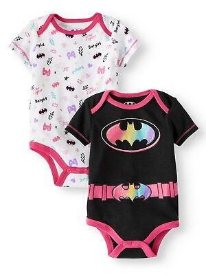 NWT DC Comics Batman Batgirl Pink Footed Tutu Sleeper Romper Pajamas 0-3 3-6 6-9