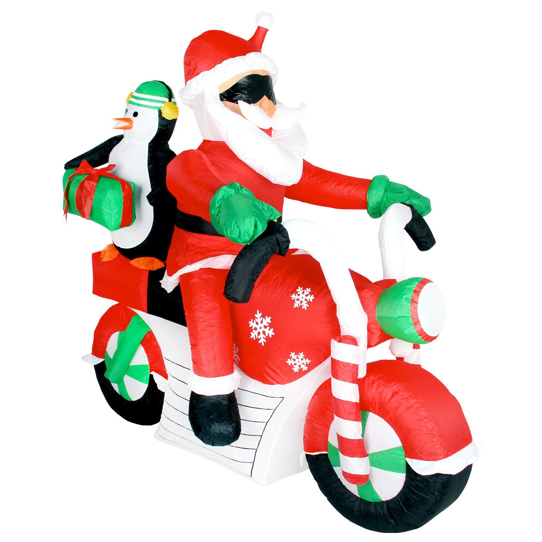 Weihnachtsdeko groß Santa & Pinguin auf Motorrad LED beleuchtet selbstaufblasend