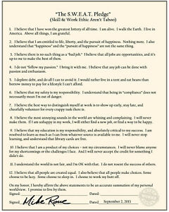 Mike Rowe's The S.W.E.A.T. Pledge Poster (Skill & Work Ethic Aren't Taboo)