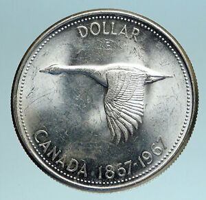 1967-CANADA-Confederation-Founding-OLD-Goose-Genuine-Silver-Dollar-Coin-i83390