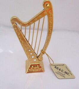 Figurine-Ornament-HARP-24k-gold-plated-Austrian-crystals-clear