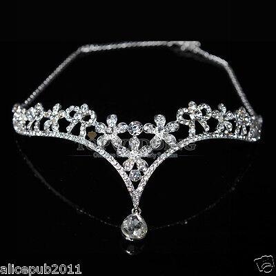 Grace Rhinestones Bridal Tiara Wedding Prom Crown Hair Head Band Chain Pendant