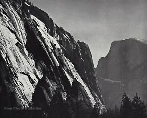 1950s-Vintage-ANSEL-ADAMS-Half-Dome-Rock-Cliffs-Yosemite-Valley-Photo-Art-11X14