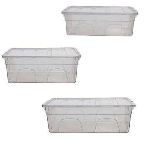 Whitefurze Clear Plastic Office Storage Box Container with Lid