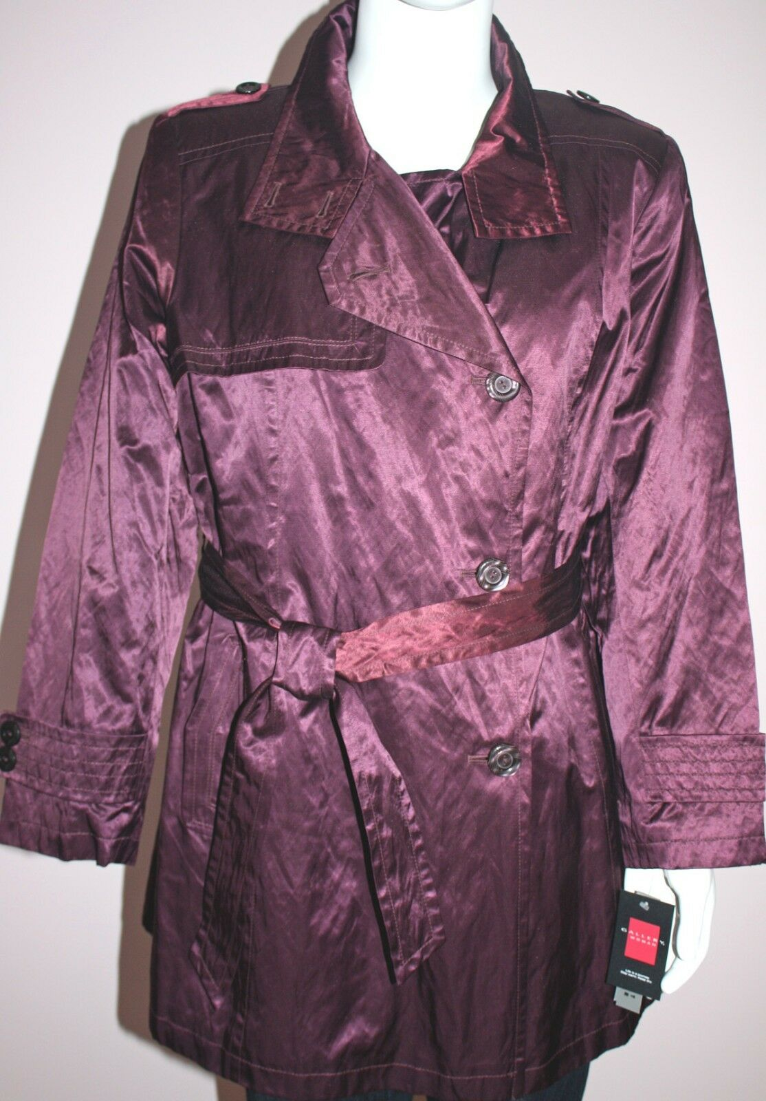 NWT GALLERY Woman Purple Wine Coat Plus Size 1X color nxmuyk3433 ...