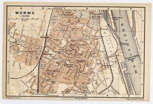 1906 Antique City Map Of Worms Rhineland Palatinate Rheinland