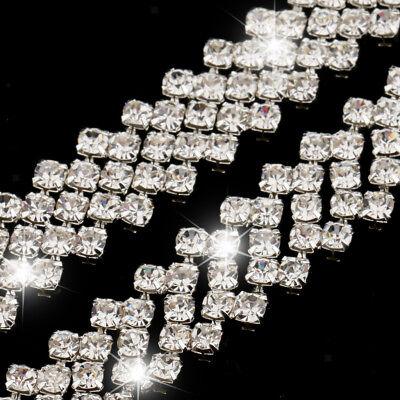 1yds Bling Diamante Crystal Ribbon Beaded Chain DIY Sewing Craft Trim 2-Row