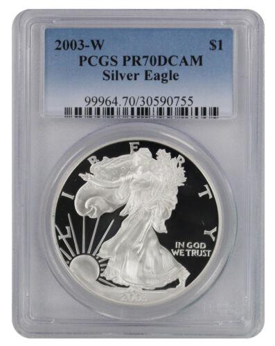 2003-W American Silver Eagle Dollar PR70DCAM PCGS Proof 70 Deep Cameo