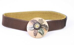 Damen-accessoires Dg169 Schuppengürtel Taillengürtel Braun Blumen Stretch 60-100 Cm Vintage Gürtel