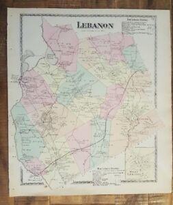 Antique Colored Map Lebanon Maine Atlas York County Me 1872 Ebay
