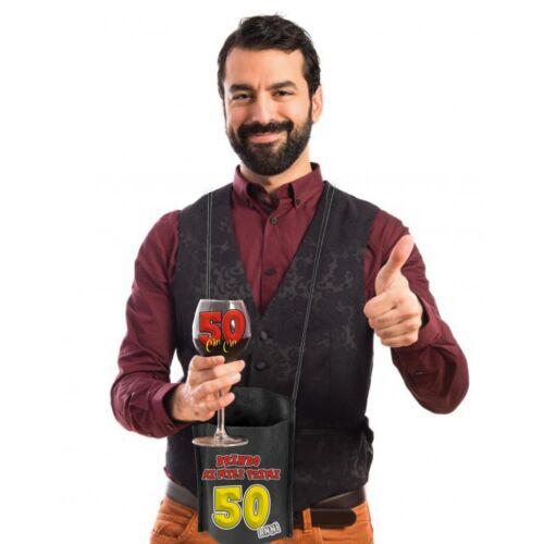 Bicchiere con portabicchiere per compleanno 50 anni