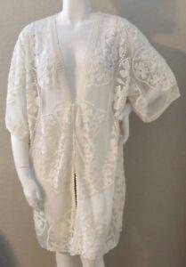 f0c31765ea6 Umgee USA Floral Lace Kimono Cardigan Wrap Jacket - Cream - Plus XL ...