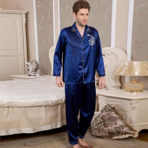 uomo 2 pezzi pigiama pigiama pigiama maniche da lunghe seta a Nwt M016 da notte M di L pigiama dUqxHRSRwY