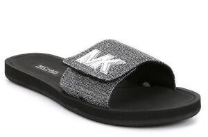 3aa011ffadb2 NIB Michael Kors Glitter Chain MK Slide Sandals Mesh Black Silver ...