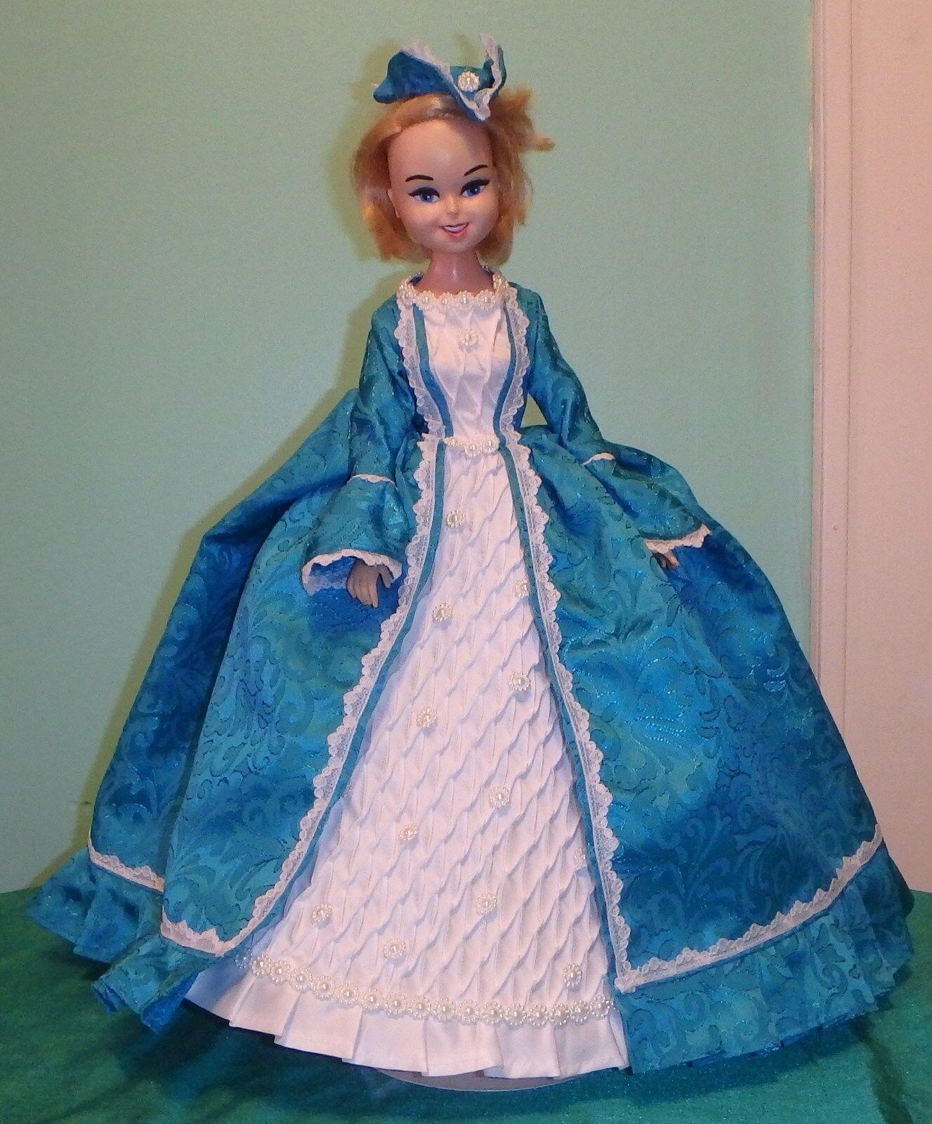 Aqua & blanco 3 Pc Marie Antoinette vestido de 16-17  Bonnie Azul Muñeca bbhc03