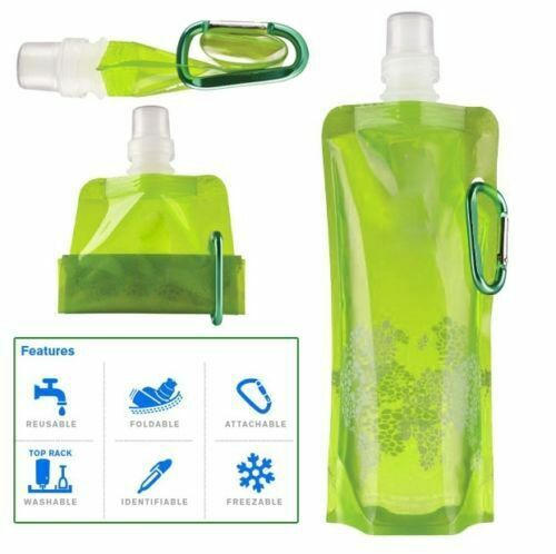 Folding Foldable Collapsible Water Plastic Bottle Bag For Outdoor Sport  Green